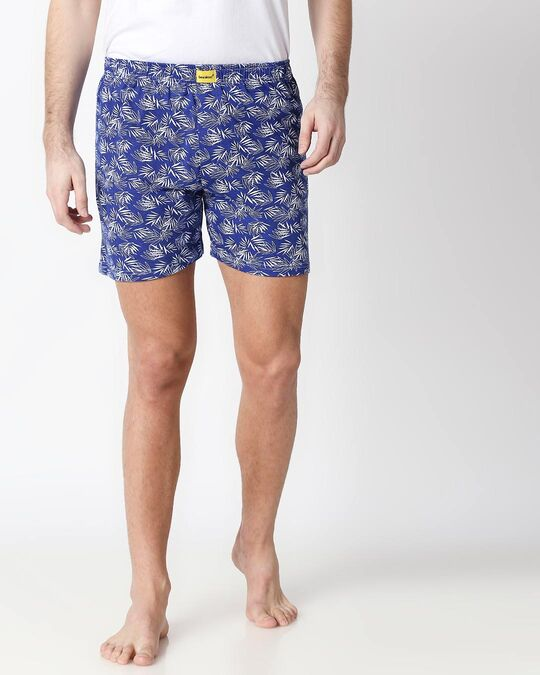 Shop Summer Vibes Blue Knitted Boxers-Front