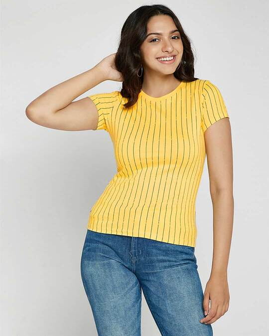 Shop Happy Yellow All Over Printed Half Sleeve T-Shirts-Front