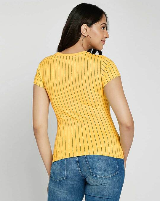 Shop Happy Yellow All Over Printed Half Sleeve T-Shirts-Design