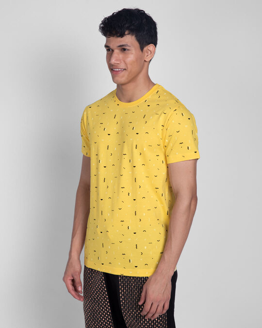 Shop Happy Yellow All Over Printed T-Shirts-Design