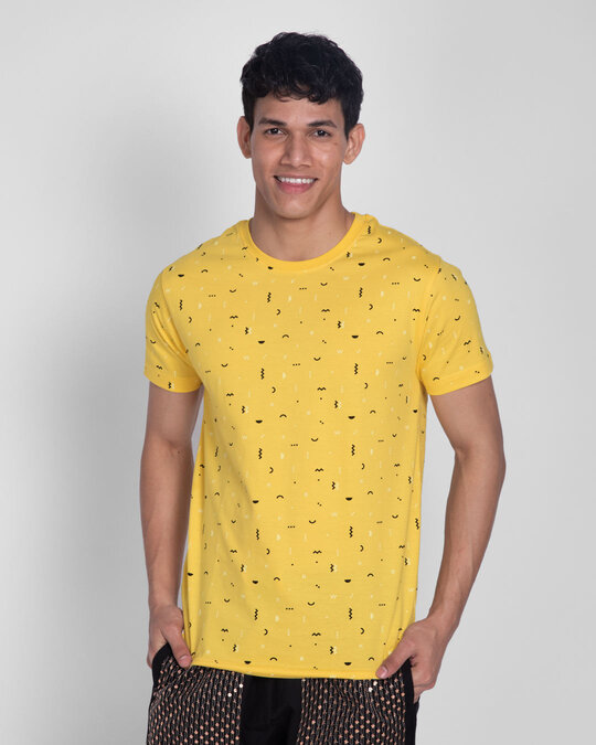 Shop Happy Yellow All Over Printed T-Shirts-Back