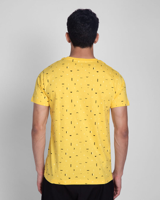 Shop Happy Yellow All Over Printed T-Shirts-Full