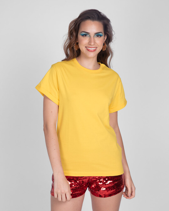 Shop Happy Yellow Boyfriend T-Shirts-Back
