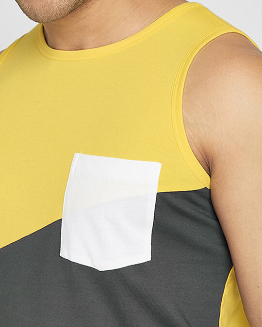 Shop Happy Yellow Color Block Vest