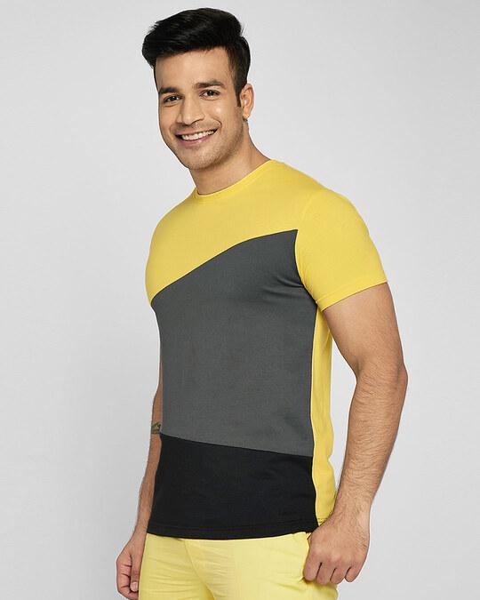 Shop Happy Yellow Color Block T-Shirt-Back