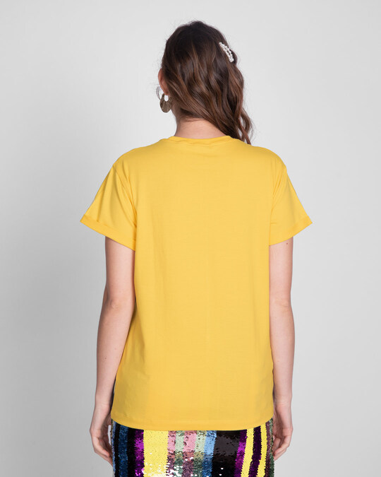 Shop Happy Yellow Color Block T-Shirt-Full