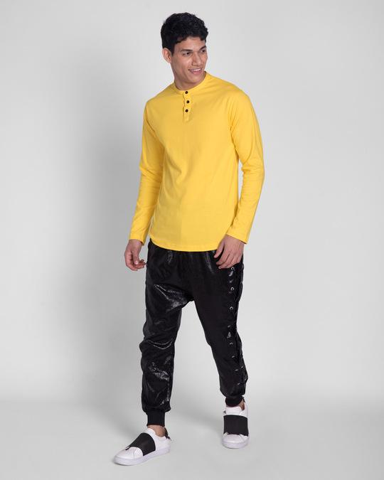 Shop Happy Yellow Full Sleeve Henley T-Shirt