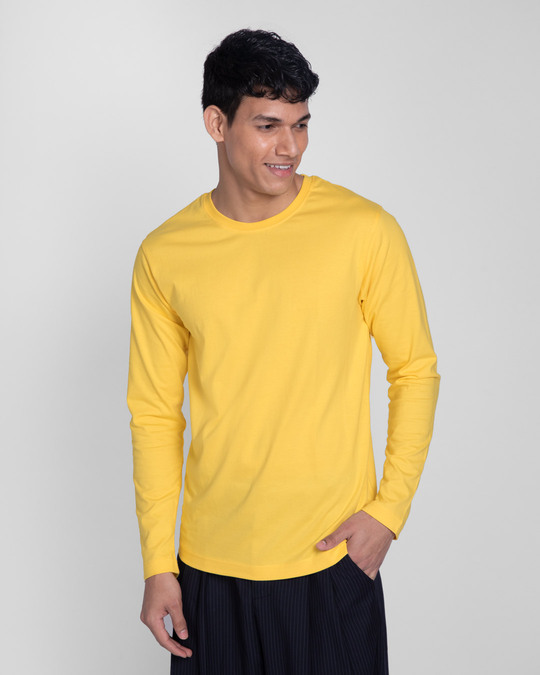 Shop Happy Yellow Full Sleeve T-Shirts-Back