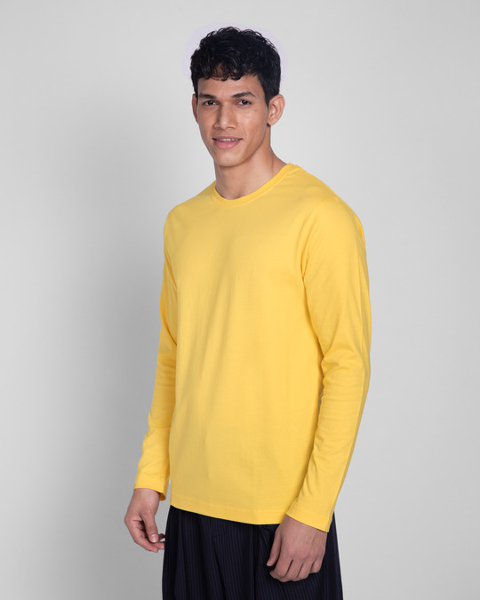 Shop Happy Yellow Full Sleeve T-Shirts-Full