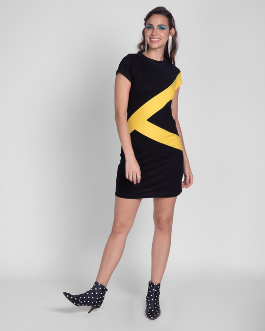 Shop Happy Yellow High Neck Panel Dress