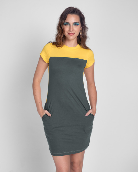 Shop Happy Yellow High Neck Two Panel Pocket Dress-Back