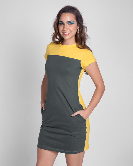 Shop Happy Yellow High Neck Two Panel Pocket Dress-Design
