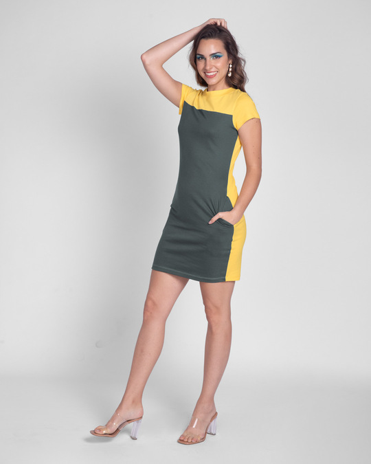 Shop Happy Yellow High Neck Two Panel Pocket Dress