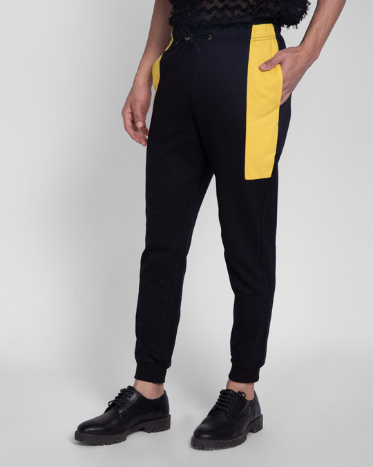 Shop Happy Yellow Pocket Panel Casual Jogger Pants-Back
