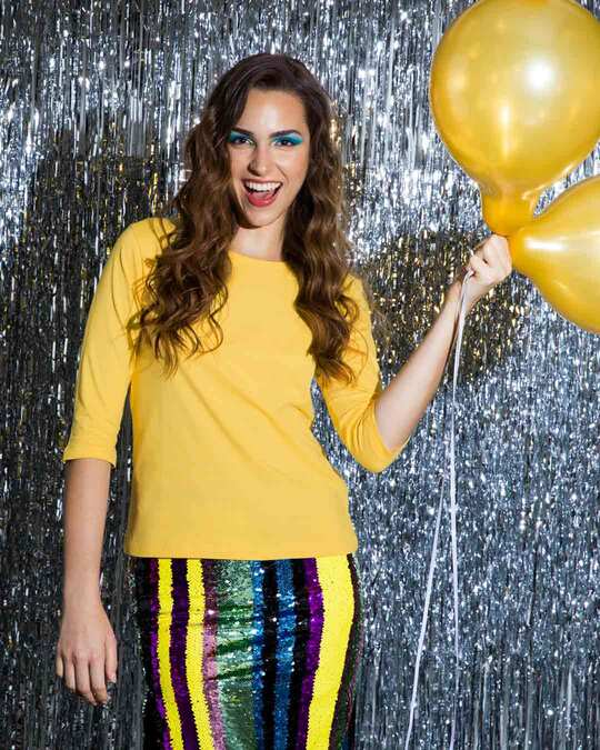 Shop Happy Yellow Round Neck 3/4 Sleeve T-Shirts-Front