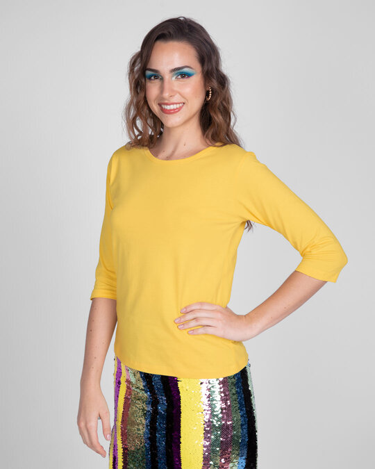 Shop Happy Yellow Round Neck 3/4 Sleeve T-Shirts-Design