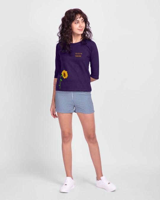 Shop Sunflower Sunshine Round Neck 3/4 Sleeve T-Shirts Parachute Purple -Full