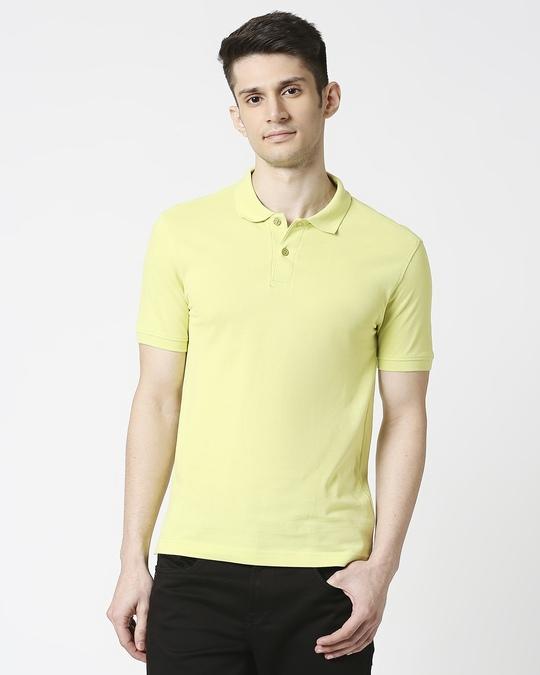 Shop Sunny Lime  Pique Polo-Back