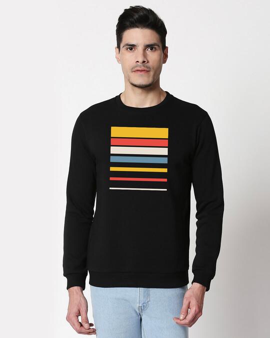 Shop Sunset Block Fleece Sweatshirt Black-Front