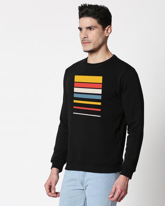 Shop Sunset Block Fleece Sweatshirt Black-Back
