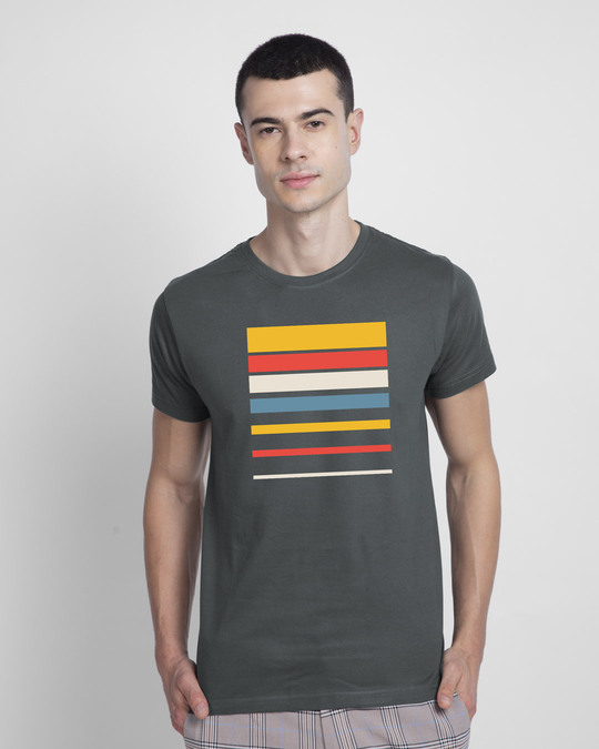 Shop Sunset Block Half Sleeve T-Shirt-Front