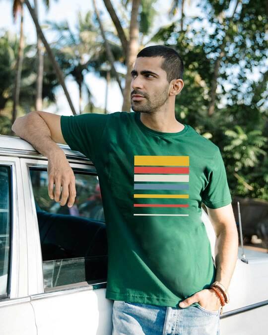 Shop Sunset Block Half Sleeve T-Shirt-Front