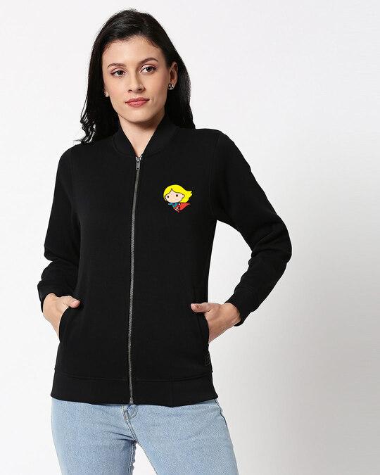 Shop Super Girl Badge Bomber Jacket-Front
