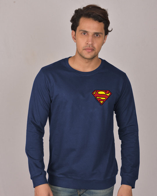 Shop Superman Badge Fleece Light Sweatshirt (SL)-Back
