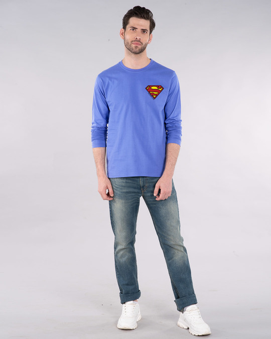 Shop Superman Badge Full Sleeve T-Shirt (SL)