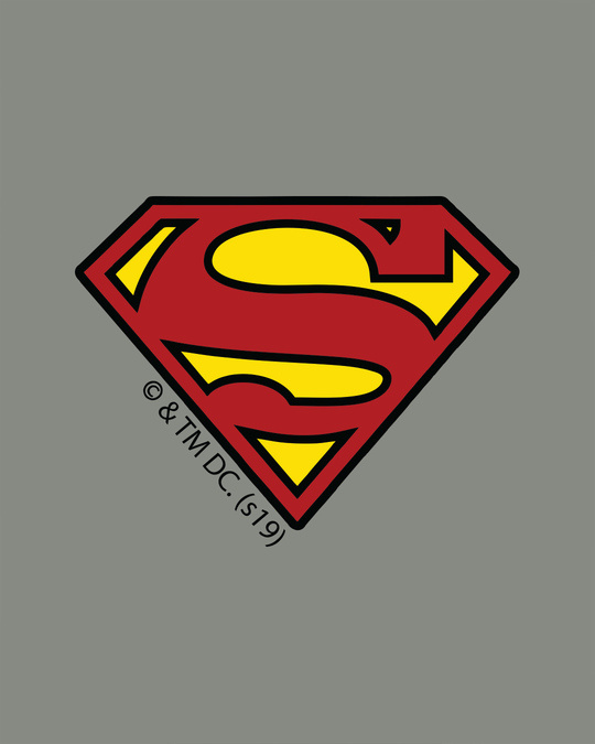 Shop Superman Badge Half Sleeve T-Shirt (SL)