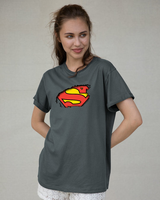 Shop Superman Break The Wall Boyfriend T-Shirt (SML)-Front