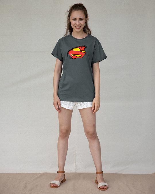 Shop Superman Break The Wall Boyfriend T-Shirt (SML)-Design