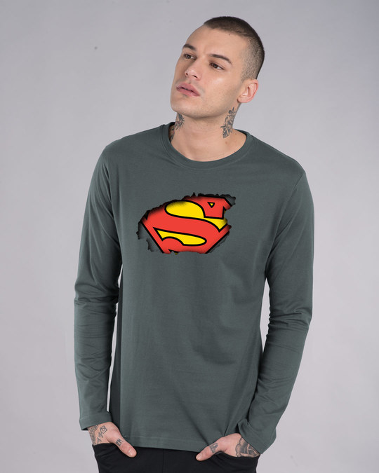 Shop Superman Break The Wall Full Sleeve T-Shirt (SML)-Front