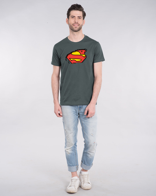 Shop Superman Break The Wall Half Sleeve T-Shirt (SML)-Full