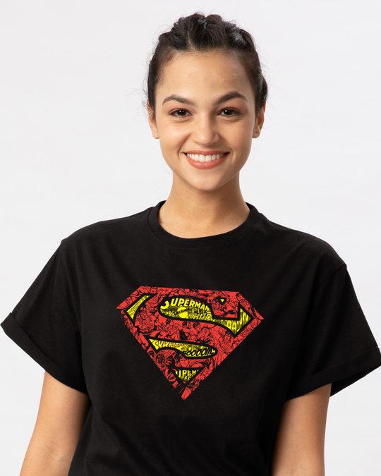 Shop Superman Doodle Boyfriend T-Shirt (SL)-Front