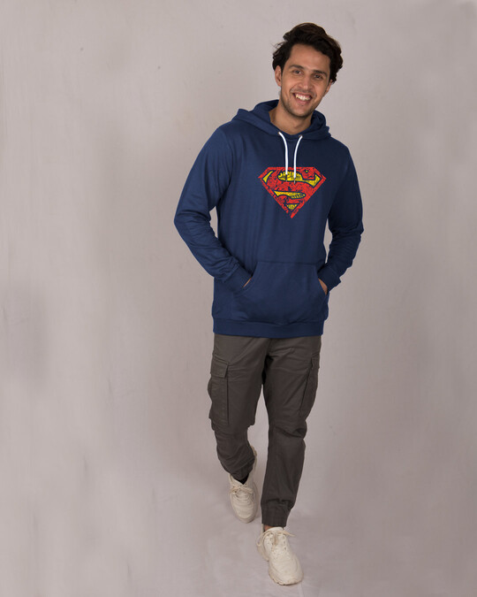 Shop Superman Doodle Fleece Hoodie (SL)-Full