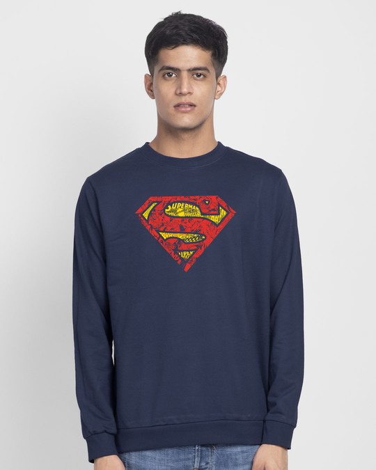 Shop Superman Doodle Fleece Light Sweatshirt (SL)-Front