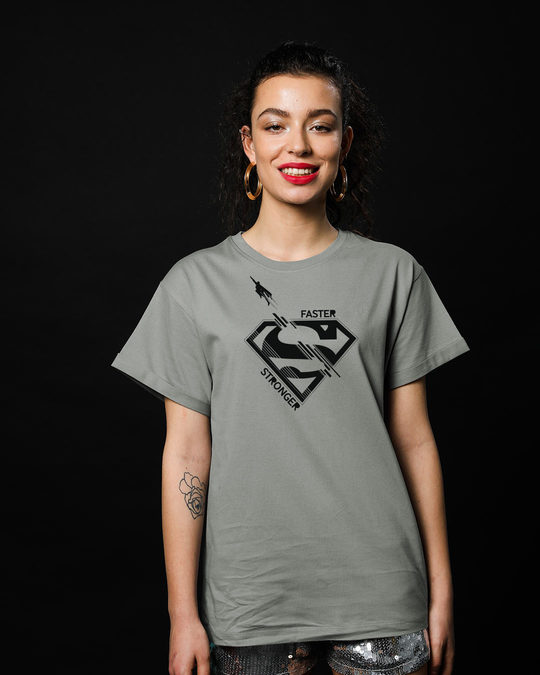 Shop Superman Faster Stronger Boyfriend T-Shirt (SML)-Front