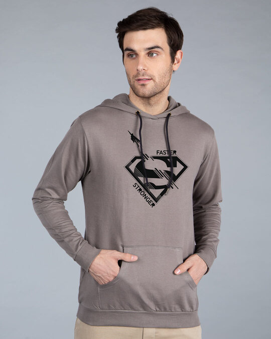 Shop Superman Faster Stronger Fleece Hoodie (SML)-Front