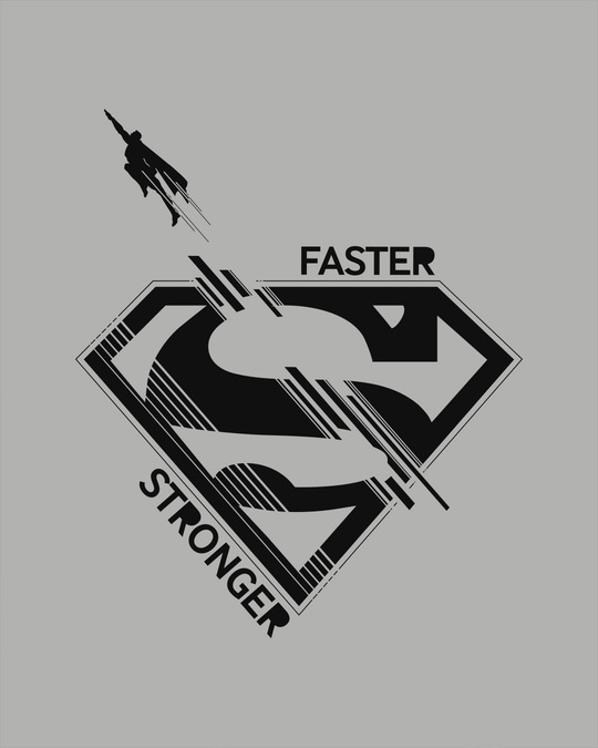 Shop Superman Faster Stronger Full Sleeve T-Shirt (SML)