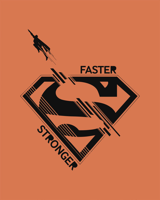 Shop Superman Faster Stronger Half Sleeve T-Shirt (SML)