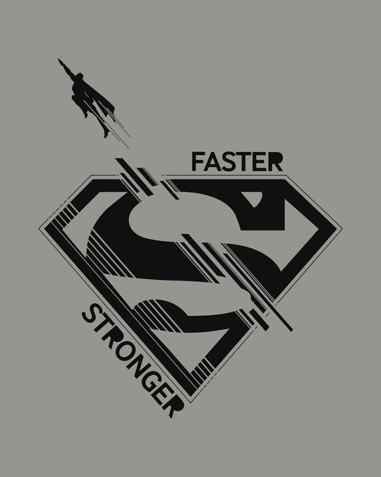 Shop Superman Faster Stronger Half Sleeve T-Shirt (SML)-Full
