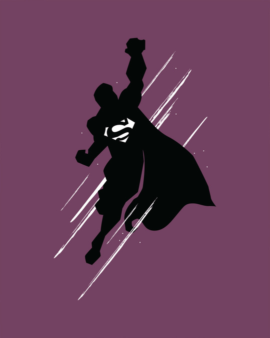 Shop Superman Flight Full Sleeve T-Shirt (SL) (GID)