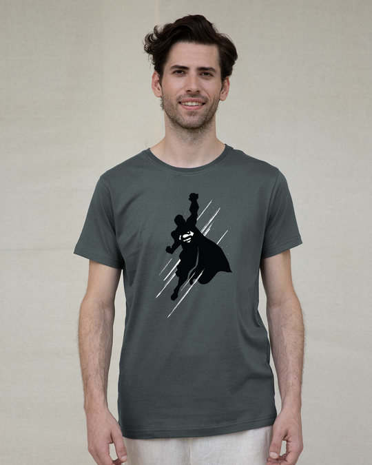 Shop Superman Flight Glow In Dark Half Sleeve T-Shirt (SL) -Front