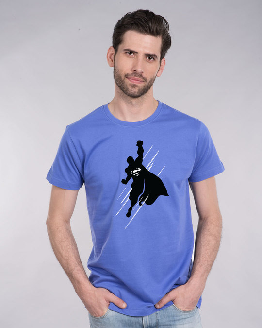 Shop Superman Flight Glow In Dark Half Sleeve T-Shirt (SL) -Front