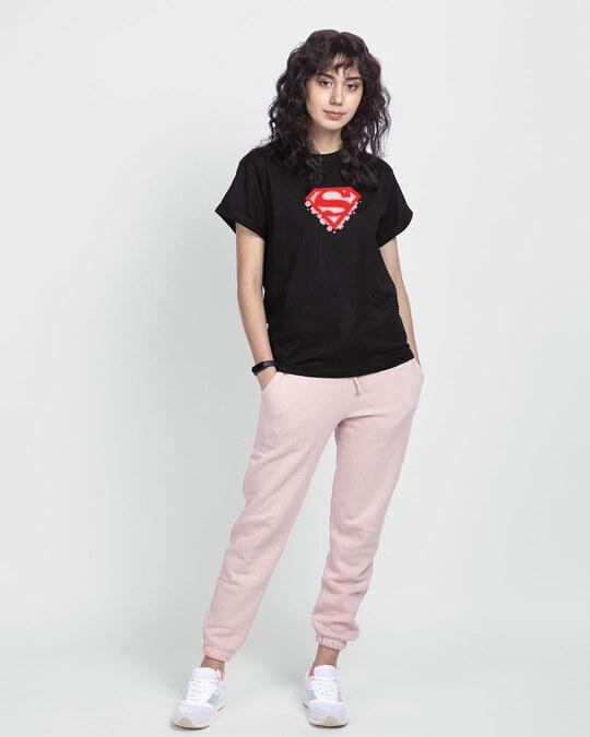 Shop Superman Floral Boyfriend T-Shirts Black (SML)-Full