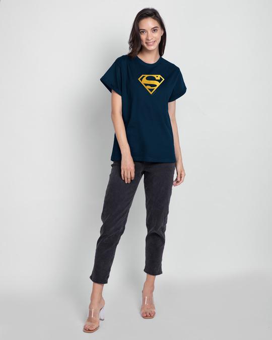 Shop Superman Gold  Boyfriend T-Shirts Navy Blue (SML)-Full