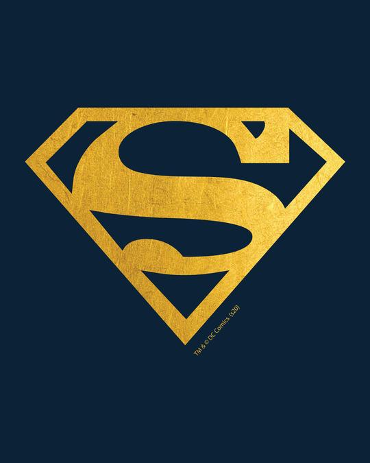 Shop Superman Gold  Boyfriend T-Shirts Navy Blue (SML)