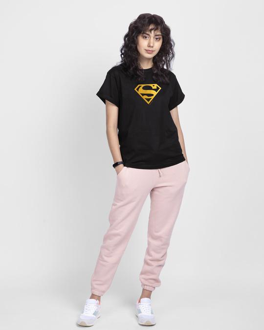Shop Superman Gold  Boyfriend T-Shirts Black (SML)-Full
