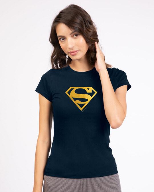 Shop Superman Gold Half Sleeve T-Shirts Navy Blue (SML)-Back